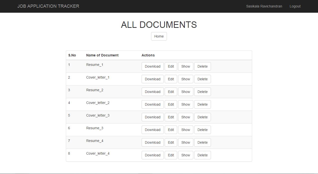 portfolio sasikala ravichandran list of documents page