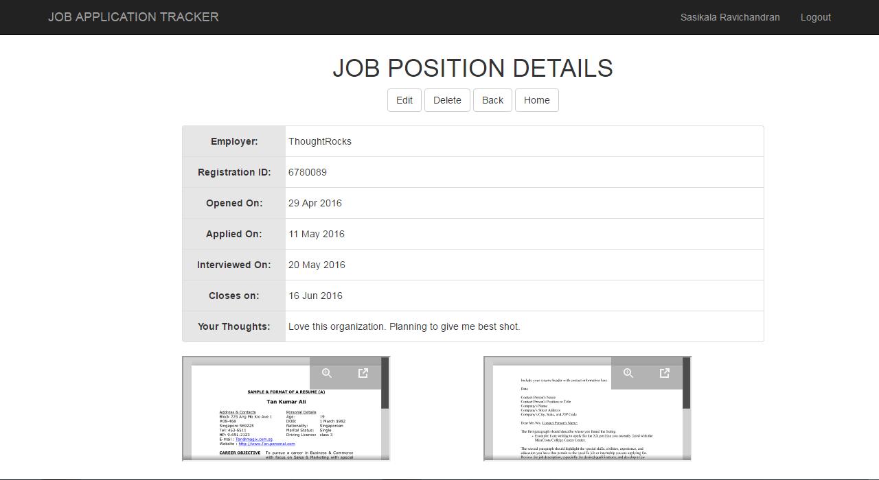 portfolio sasikala ravichandran an application details